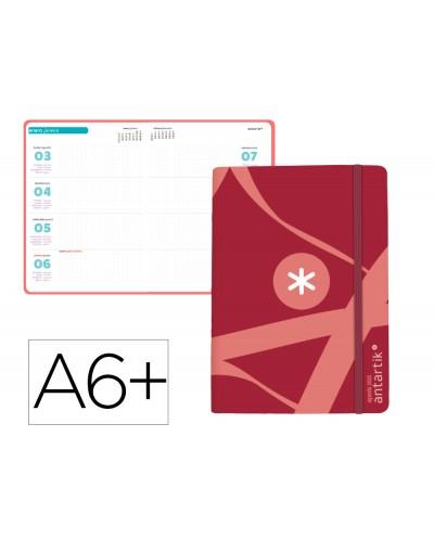 Agenda de oficina antartik 2022 semana vista 100 gr con sobre marcapaginas y 3 hojas pegatinas rojo 130x175 mm