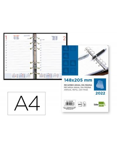 Recambio agenda anillas liderpapel 148x205 cm 2022 dia pagina papel 70 gr