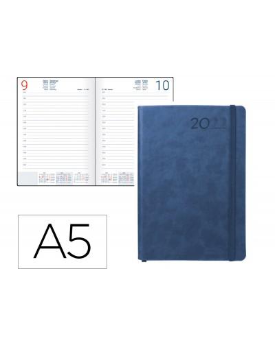 Agenda encuadernada liderpapel mykonos 15x21 cm 2022 dia pagina papel 70 gr piel antigua rayada color azul