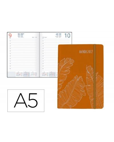 Agenda encuadernada liderpapel efira a5 2022 dia pagina papel 70 gr color calabaza