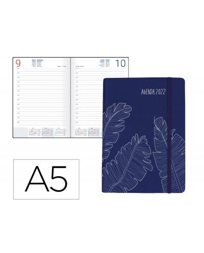 Agenda encuadernada liderpapel efira a5 2022 dia pagina papel 70 gr color azul