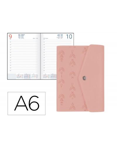 Agenda encuadernada liderpapel therasia mini 2022 dia pagina papel 70 gr color nude