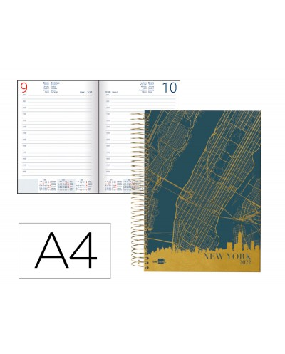 Agenda espiral liderpapel gazi a4 2022 dia pagina portada polipropileno papel 70 gr new york
