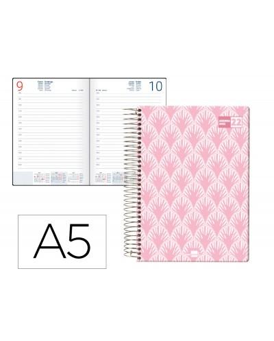 Agenda espiral liderpapel classic a5 2022 dia pagina portada polipropileno papel 70 gr color rosa