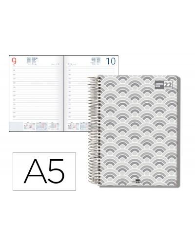 Agenda espiral liderpapel classic a5 2022 dia pagina portada polipropileno papel 70 gr color gris
