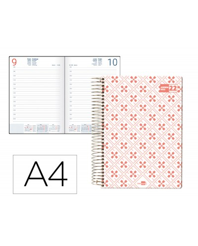 Agenda espiral liderpapel classic a4 2022 dia pagina portada polipropileno papel 70 gr color coral