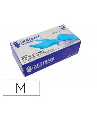 Guantes de nitrilo bestsafe talla m caja de 100 unidades