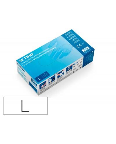 Guantes de vinilo setino talla l caja de 100 unidades