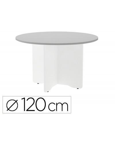 Mesa de reunion rocada redonda 3006aw02 estructura madera en aspas color blanco tablero gris 120cm diametro