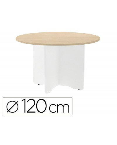 Mesa de reunion rocada redonda 3006aw01 estructura madera en aspas color blanco tablero haya 120cm diametro