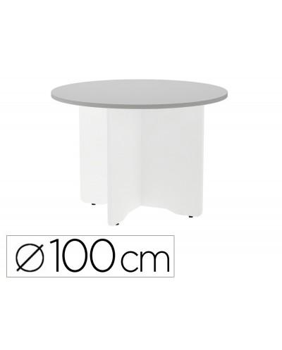 Mesa de reunion rocada redonda 3005aw02 estructura madera en aspas color blanco tablero gris 100cm diametro