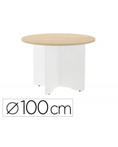 Mesa de reunion rocada redonda 3005aw01 estructura madera en aspas color blanco tablero haya 100cm diametro