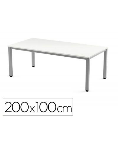 Mesa de oficina rocada executive 2005ad04 aluminio blanco 200x100 cm