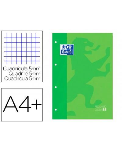 Recambio color 1 oxford din a4 80 hojas 90 gr cuadro 5 mm 4 taladros color verde manzana