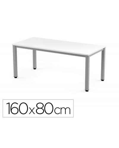 Mesa de oficina rocada executive 2002ad04 aluminio blanco 160x80 cm