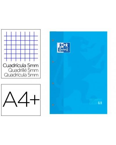 Recambio color 1 oxford din a4 80 hojas 90 gr cuadro 5 mm 4 taladros color turquesa