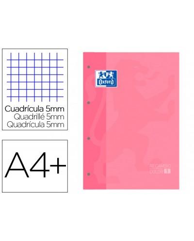 Recambio color 1 oxford din a4 80 hojas 90 gr cuadro 5 mm 4 taladros color rosa chicle