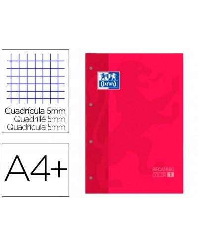 Recambio color 1 oxford din a4 80 hojas 90 gr cuadro 5 mm 4 taladros color rojo