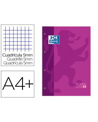 Recambio color 1 oxford din a4 80 hojas 90 gr cuadro 5 mm 4 taladros color morado