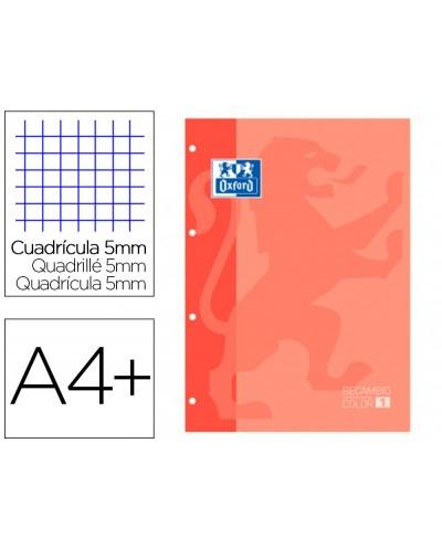 Recambio color 1 oxford din a4 80 hojas 90 gr cuadro 5 mm 4 taladros color melocoton