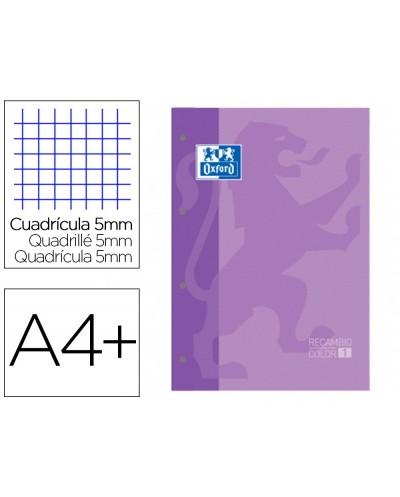 Recambio color 1 oxford din a4 80 hojas 90 gr cuadro 5 mm 4 taladros color malva