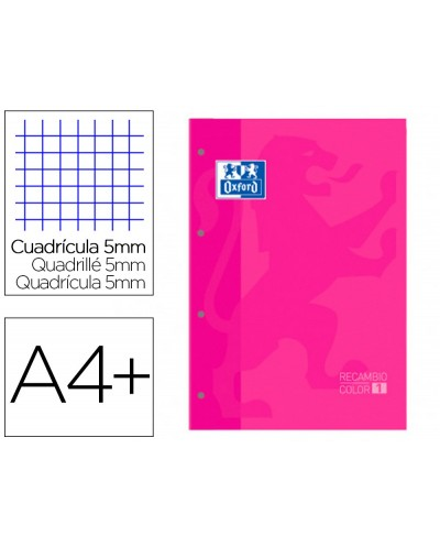 Recambio color 1 oxford din a4 80 hojas 90 gr cuadro 5 mm 4 taladros color fucsia