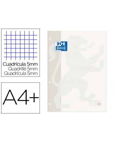 Recambio color 1 oxford din a4 80 hojas 90 gr cuadro 5 mm 4 taladros color blanco