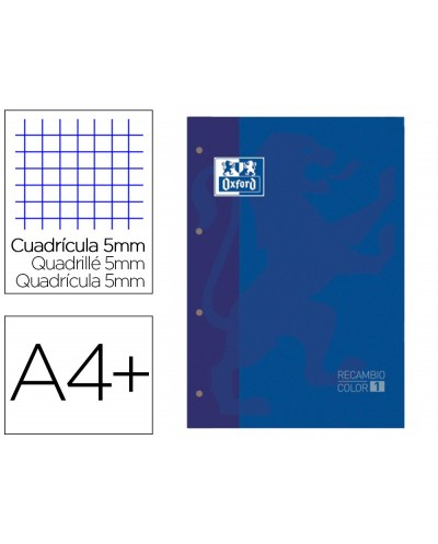 Recambio color 1 oxford din a4 80 hojas 90 gr cuadro 5 mm 4 taladros color azul oscuro