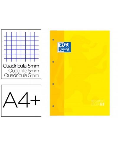 Recambio color 1 oxford din a4 80 hojas 90 gr cuadro 5 mm 4 taladros color amarillo