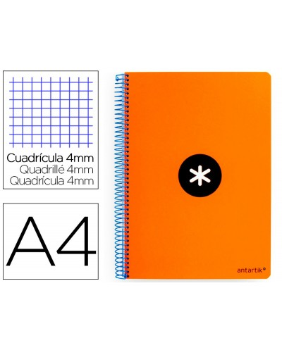 Cuaderno espiral liderpapel a4 antartik tapa dura 80h 100gr cuadro 4mm con margen color naranja