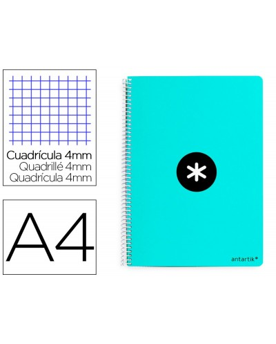 Cuaderno espiral liderpapel a4 antartik tapa dura 80h 100gr cuadro 4mm con margen color menta