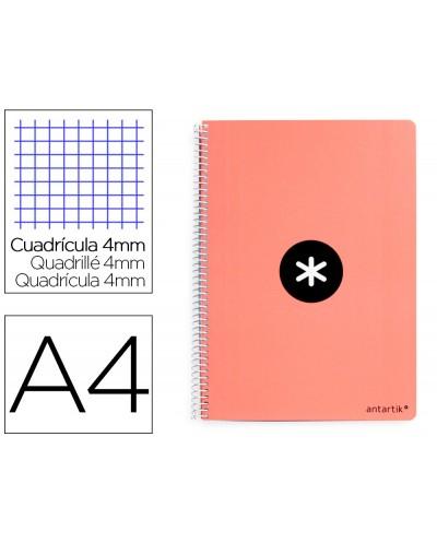 Cuaderno espiral liderpapel a4 antartik tapa dura 80h 100gr cuadro 4mm con margen color coral