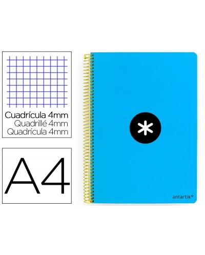 Cuaderno espiral liderpapel a4 antartik tapa dura 80h 100gr cuadro 4mm con margen color azul