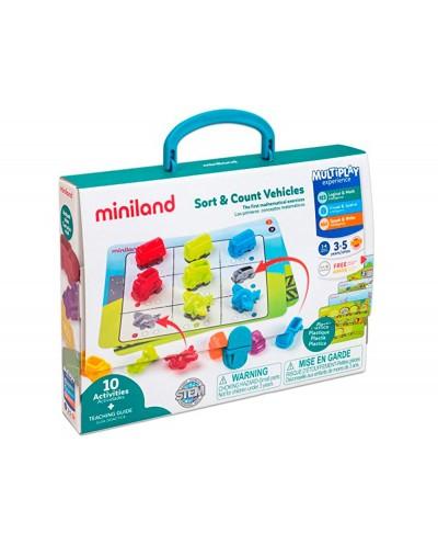 Juego miniland 36 vehiculos y 5 fichas de actividad a doble cara para logica matematica 310x70x531 mm