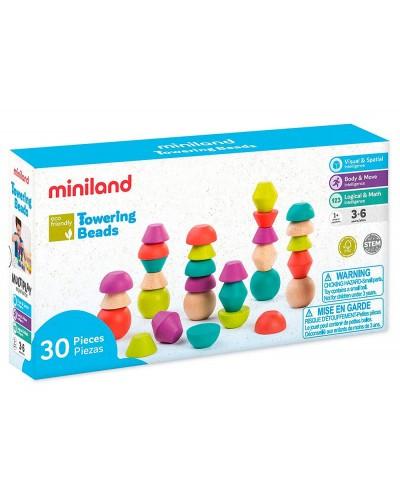 Juego miniland towering beads piezas de maderas para trabajar la logica