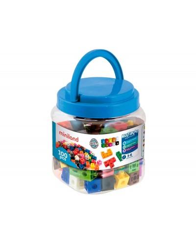 Juego miniland 100 cubos de 2 cm para juegos matematicos 125x150x125 mm