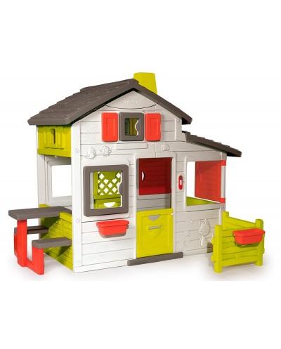Casa de actividades smoby friends house con dos maceteros y dos ventanas orientacion 360 217x171x172