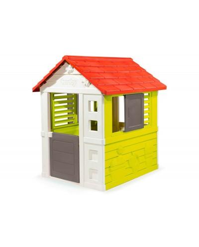 Casa de actividades smoby nature con dos ventanas correderas y puerta 98x110x127 cm