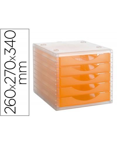 Fichero cajones de sobremesa archivo 2000 apilable 5 cajones naranja translucido 260x270x340 mm
