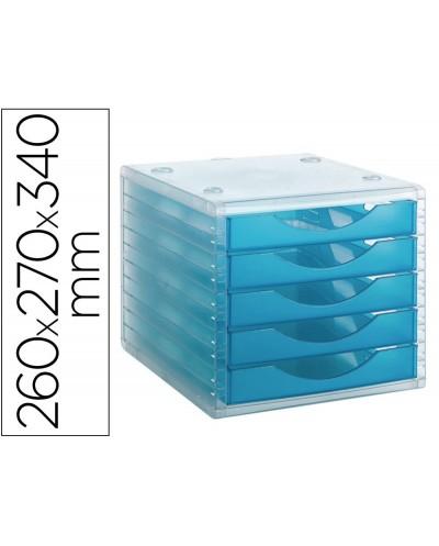 Fichero cajones de sobremesa archivo 2000 apilable 5 cajones lagoon translucido 260x270x340 mm