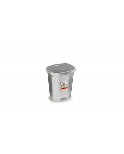 Papelera contenedor plasticforte plastico con tapadera y pedal 18 litros color plata 330x280x405 mm