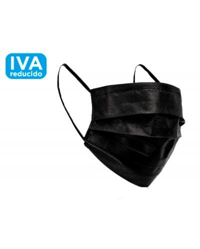 Mascarilla facial quirurgica negra desechable 3 capas filtracion 95 tipo iir