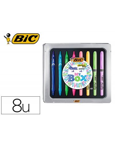 Set bic caja metalica 4 gelocity quick dry colores surtidos 4 fluorescentes grip colores pastel surtidos