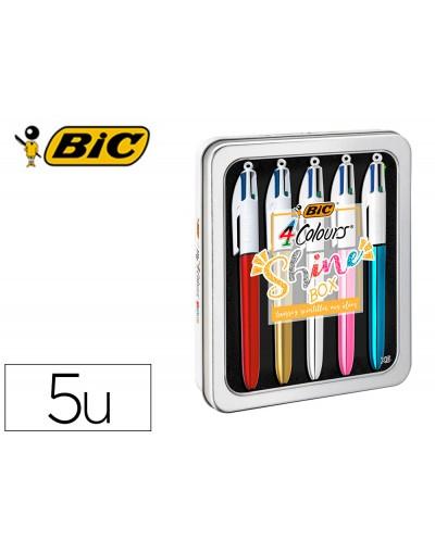 Boligrafo bic cuatro colores shine box caja metalica 5 unidades surtidas