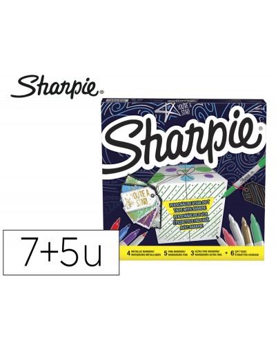 Rotulador sharpie permanente pack de 7 unidades punta fina 5 unidades punta ultrafina colores surtidos