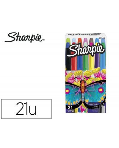 Rotulador sharpie permanente pack mariposa de 14 unidades punta fina 7 unidades punta ultrafina colores surtidos