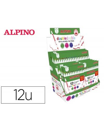 Rotulador alpino doble doble punta gruesa y punta fina expositor de 12 estuches de 102 unidades colores