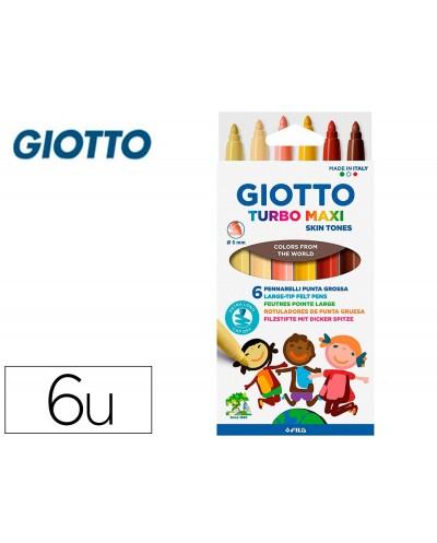 Rotulador giotto turbo maxi skin tones caja de 6 colores surtidos lavables punta bloqueada