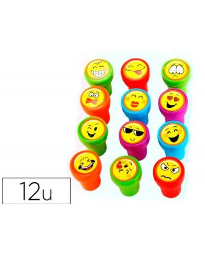 Sello artline emoticono uso escolar expositor de 12 unidades surtidas