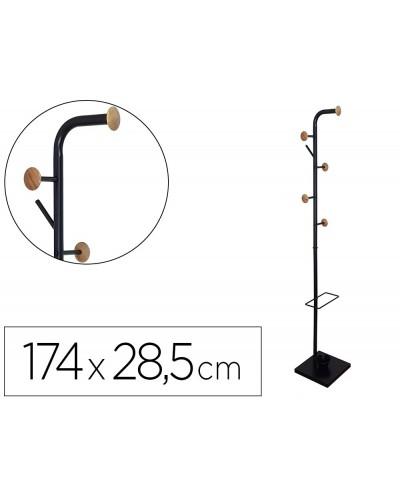 Perchero metalico q connect negro con detalles de madera 6 colgadores y paraguero 174x285 cm